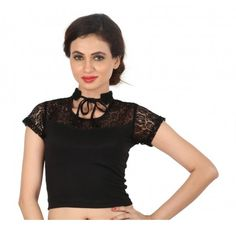 3d7ad681aa1ced Black lace fancy collar high neck blouse / crop top - Stretchable Lycra & Velvet  Blouse