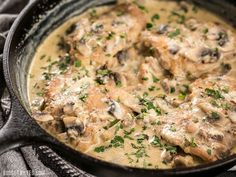 A simple pan sauce saves the day in this quick and easy Creamy Garlic Mushroom Chicken! Step by step photos.