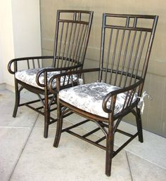 Pair Black FRENCH COUNTRY COTTAGE Bamboo ARM CHAIRS Blue White Toile  in Antiques, Furniture, Chairs, Post-1950 | eBay