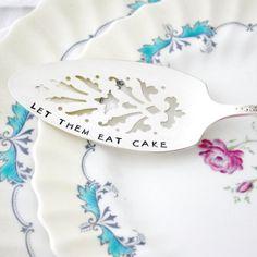 Let Them Eat Cake Hand stamped vintage by MilkandHoneyLuxuries, $40.00