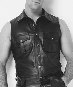 Sleeveless Leather Shirt - Military Leather Shirt   #leatherbaba #leathershirt #militaryshirt