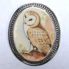 Wedgwood Owl (symbol of wisdom) broken china brooch/pendant.  www.vbelle.com, $128