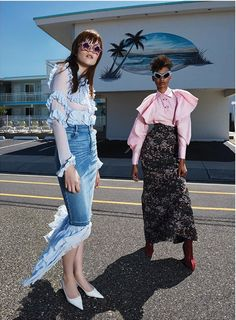 OMG a denim skirt with a train! and chiffon blouse! Fun feminine casual outfit. and pointy toe heels! Mixte Paris Magazine features Mercura NYC Crystal & Mirror Stars and Blue…