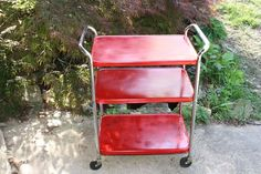 Vtg COSCO Rolling Cart Stand Tea Kitchen Red Mid Century Modern 50/60s Utility
