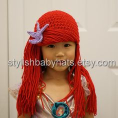 Little Mermaid Arial Red Hair Crochet Baby Hat by stylishbabyhats
