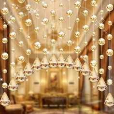 String Curtains, Tulle Curtains, Door Curtains, Crystal Beads, Crystals, Glass Crystal, Crystal Lights, Dining Room Curtains, Curtain Room
