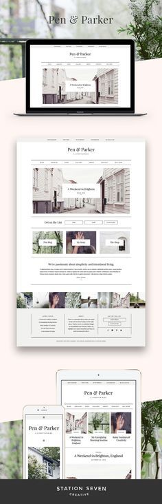 Station Seven's clean and styled WordPress theme for your lifestyle blog, shop or business: Parker.