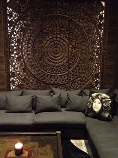 King Size Bed Mandala Headboard Reclaimed Teak Wood Wooden Carved Lotus Flower Wall Art Panel Thai Ft , You can select color ) Wood Panel Walls, Panel Wall Art, Wood Paneling, Paneling Ideas, King Bed Headboard, Headboards For Beds, Thai House, Wooden Wall Art, Wood Wall