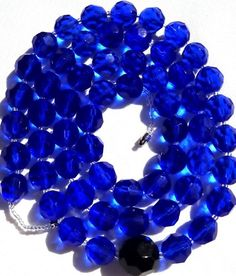 "Gorgeous 37"" Long Huge Sapphire Blue Faceted Bead Vintage Estate Necklace 