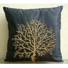 Decorative Throw Pillow Covers Accent Pillow Couch Sofa Toss 16x16 Inch Silk Pillow Cover Bead Embroidered Home Living Decor Celebrated Tree on Etsy, $22.00