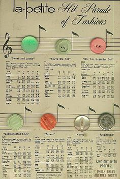 ButtonArtMuseum.com - Vintage Button Sample Card of LaPetite Buttons Great Graphics