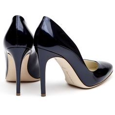 Rupert Sanderson Navy Patent Pumps ($595) ❤ liked on Polyvore