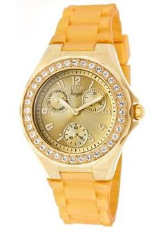 Women's Invicta Watch ~ Angel White Crystal Gold Dial Gold Rubber    Save: $435  Sale: $160
