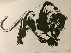 The jaguar ; black and white tattoo design..