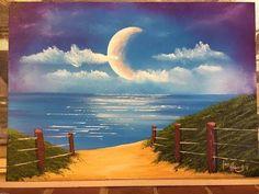 "How to paint a moon over the ocean ""Moon Walk"" (Acrylic)"