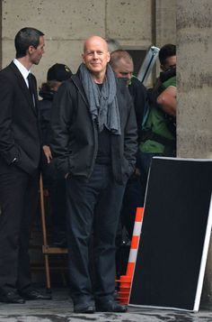 Bruce Willis on October 10th on the set of Red 2 in Paris, France.