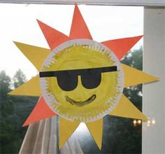 """Kids will have fun making this paper plate sun craft during the summer season.  If you are looking for a fun and simple summer craft for kids, then this is a good one. Kids get to paint the paper plate and then cut out the rays of sunshine and sunglasses (follow our template) from different colored construction paper.  Then put it all together for one happy sun."""
