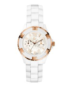 White & rose gold-tone watch by Gc Watches on secretsales.com