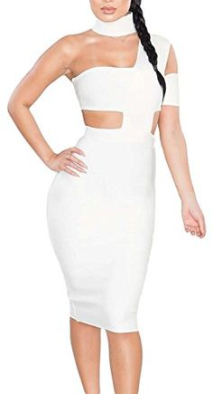 IF FEEL Women's Sexy Choker Neck Cut out Bandage Party Dress Clubwear (L, White) Description IF FEEL equals Beautiful, Confident, Charming and Sexy. A woman was born sexy. If you feel so inclined, let us help you show your charm A sexy clothing will make you confident and stand out. Womens should be the focus We have powful teams and technology to design the clothing. Our products include swimsuit,dress,Skirts,pants,leggings and sexy lingere etc. All of the clothing are in s