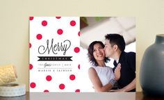 Holiday or Christmas Photo Cards Red Polka Dot Merry by elsiej