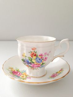 Berries Flat Tea Cup and Saucer Crown Staffordshire