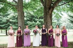 Really pretty bridesmaids dresses in blush and plum, flowers by Fair Rarity Flowers, photo by Suzuran Photography