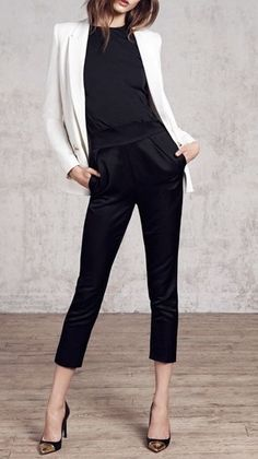 More black and white for ya.  Simple chic with a slight turn up in volume with a silk cropped trouser instead of a duller material.