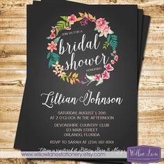 Tropical Bridal Shower Invitation - Chalkboard Island Flowers Hawaiian Luau Bridal Shower Invite Wedding Shower Party - 1392 PRINTABLE