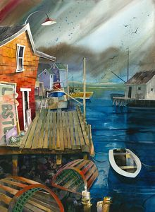 Cantos Cove, New England by Chuck McPherson Watercolor