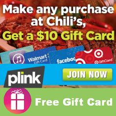 Need a reason to eat at Chili's? Well, new PLINK members who sign-up now will get a FREE $10 gift card of their choice with their next Chili's purchase (before Sept. 1) http://freebies4mom.com/plinkchilis/