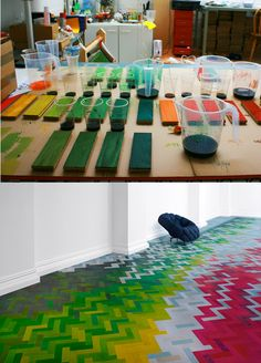 colorful chevron parquet floor - so cool!