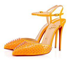 CHRISTIAN LOUBOUTIN Baila Spike 100mm Full Moon/Arancio Irid Patent Leather. #christianlouboutin #shoes #