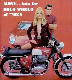 1968 BSA Motorcycle Girl with Ferrari. It seems that she has reached a decision that is not making her beau very happy. :-)