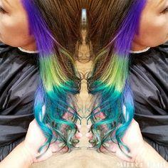 WEBSTA @ hitomi0107welina - #colorful #インナーカラー 💙💚💜💛…
