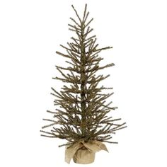 "3' x 18"" Vienna Twig Artificial Christmas Tree in Burlap Base - Unlit"