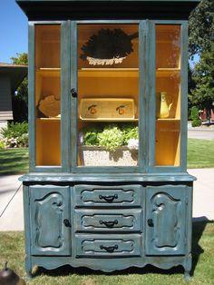 ASCP Aubusson Blue and Arles China Hutch  lookwhoschalking.blogspot.com