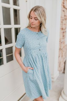 THE OXFORD PATTERNED DRESS IN DUSTY SAGE