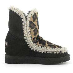 MOU Eskimo Wedge Short Boots Black/Front Leopard Choco - MOU