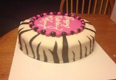 Zebra print cake, marshmallow fondant
