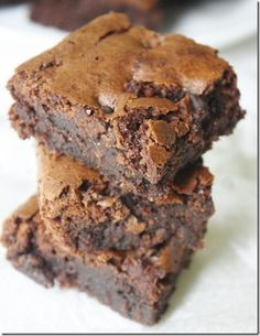 Gluten free brownies. I have made these twice more, first switching out the butter for vanilla yogurt and next replacing it with homemade applesauce. They both seemed to work just fine, although my homemade applesauce was a bit thicker, smoother and less watery than most store-bought applesauces I've tried. Not sure how it would work with regular applesauce. Tasty brownies!