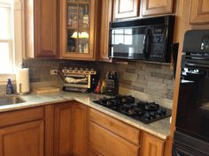 Backsplash was so easy :) cost only $125 for the entire kitchen!! Air stone at lowes