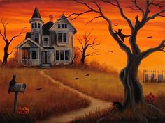 Halloween Painting Bats Cats Haunted House Witch JOL Ghost Cemetery Original  #Realism