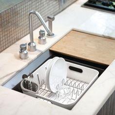 Egouttoir compact en plastique et acier Simple Human - Blanc
