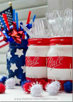 Diy Mason Jar-flags-red-white-blue ~ simple tutorial ~ use for utensil holder, decorations, centerpiece...etc...