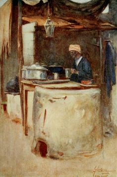 Thackeray, Lance (1869-1916) - The People of Egypt 1916, A public cook. #nile, #egypt, #africa