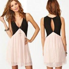 Deep V-Neck Hit Color Dress $14