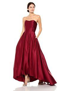 6afcd540e128 Amazon.com: Betsy & Adam Women's Strapless Ball Gown, Burgundy, 6