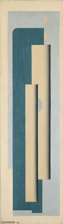 Victor Servranckx - Opus 17-1922 - 1922 Oil and silver paint on canvas. 133.5 x 38 cm