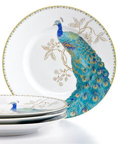 222 Fifth Set of 4 Peacock Garden Salad Plates - Dinnerware - Dining & Entertaining - Macy's