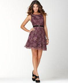 Metallic Lace Dress. love the feminine shape yet edgy metallic look.